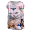 3D King Cat Print Short Sleeve Loose T-Shirt