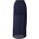 Dark Blue Elegant Side Split Chiffon Longline Skirt