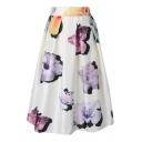 Shimmering White Background Flower Print Pleated Midi Skirt
