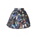 Black Background 3D Butterfly Print Pleated A-line Skirt