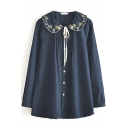 Dark Blue Long Sleeve Embroidered String Pleated Detail Shirt
