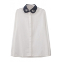 White Long Finger Embroidered Blue Lapel Shirt