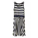 Dark Blue Stripe Panel Drawstring Waist Tanks Dress