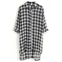 Black 1/2 Sleeve Plaid Step Hem Midi Chiffon Shirt