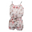 White Background Rose Print Chiffon Camis with Shorts Co-ordinate