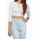 Plain Bateau Skinny 3/4 Sleeve Crop Top with CrossBack