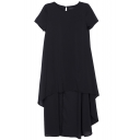 Cute Style Plain Short Sleeve High-low Hem Tunic Dress