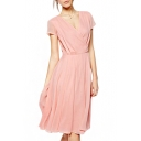 V-Neck Short Sleeve Pearl Pink Chiffon Dress
