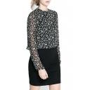 Black Floral Print Long Sleeve Pencil Dress
