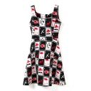 Sleeveless Lips&Poker A-line Tanks Dress