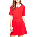 Vintage Lapel Short Sleeve Pleated Dress