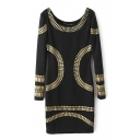 Golden Geometric Patter Long Sleeve Skinny Dress