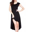 Black Cutout Back High Low Short Sleeve Dress