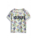 Purple Letter Floral Crop Cuffed T-Shirt