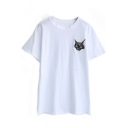 White Pocket Embroidered Cat Head T-Shirt