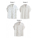 Umbrella Print Short Sleeve Chiffon Shirt
