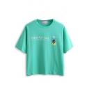 Green Cat Letter Print Short Sleeve T-Shirt
