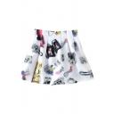 White 3D Letters Print Short A-line Skirt