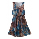 Multi Color Vintage Pattern Print Elastic Waist Chiffon Tanks Dress