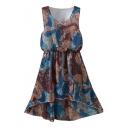 Multi Color Vintage Pattern Print Elastic Waist Chiffon Tanks Dress