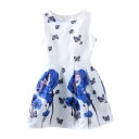 Blue Flower&Butterfly Print Sleeveless Fit&Flare Dress