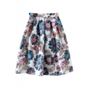 Peacock Feather Print Midi Vintage High Waist Skirt