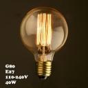 40W 220V 80*120mm G80 E27 Edison Bulb