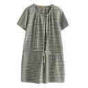 Blue Short Sleeve Gingham Drawstring Waist Dress