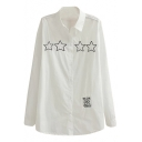 White Long Sleeve Star&Symbol Embroidered Midi Shirt