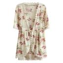 Pink Flora Print Short Sleeve Lace Trim Kimono