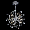Add Buzz to Chic Pendant Light with Little Crystal Balls Spread Out on Curvy Chrome Finish Frame