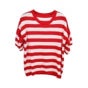 Red Stripe Short Sleeve Crop Knitting Sweater