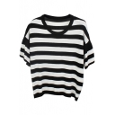 Black Stripe Short Sleeve Crop Knitting Sweater