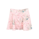 Pink Background White Flora A-line Skirt