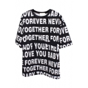 Black Short Sleeve All Over White Letters T-Shirt
