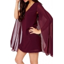 Pendant Design Cape Detail Dress with V-Neck