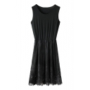 Plain Elastic Gathered Waist Round Neck Lace Hem Sundress