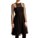 Elegant Style Polka Dot Pattern Sheer Panel&Cover High Waist Black Dress