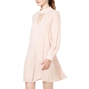 Light Pink Front&Back V-Cutout Flare Sleeve Swing Dress