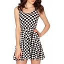 Mono Checker Print A-line Tanks Dress