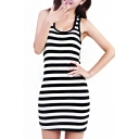 Stripe Print Cross Back Skinny Fitted Tank Dress