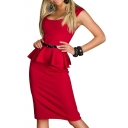 Plain Round Neck Belted Ruffle Hem Mini Dress