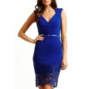 Blue V-Neck Sleeveless Belted Dress with Crochet Hem