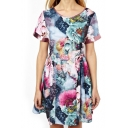 Short Sleeve Ombre Color Ink Flower Painting Dress
