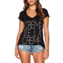 Black V-Neck French Letter Print Short Sleeve T-Shirt