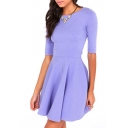 Purple Round Neck Half Sleeve Pleated Dress
