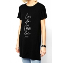 Black Short Sleeve Long Line Split Hem Letter Print T-Shirt