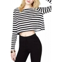 Classic Mono Stripe Crop T-Shirt