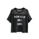 Black Sheer Striped Letter Print T-Shirt