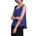 Color Block Sleeveless V-Neck Chiffon Loose Top